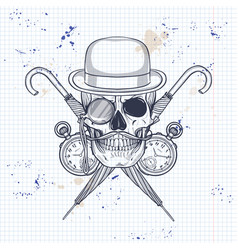 sketch of british skull vector image