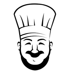 Smiling chef with a beard and moustache vector