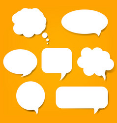 speech bubble set and orange background vector image