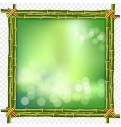 Square green bamboo sticks border frame with blur vector