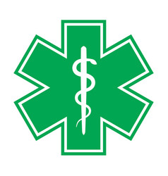 Star of life with the staff of asclepius vector