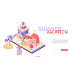 summer vacation - modern colorful isometric web vector image