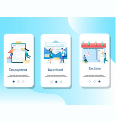 tax mobile app onboarding screens template vector image