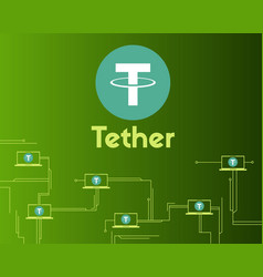 Tether cryptocurrency circuit concept background vector