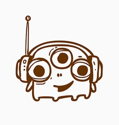 Three eyed alien outline vector