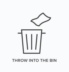 Throw trash into bin flat line icon vector