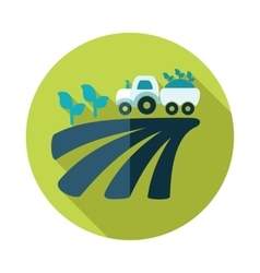 Tractor on field harvest seedling flat icon vector