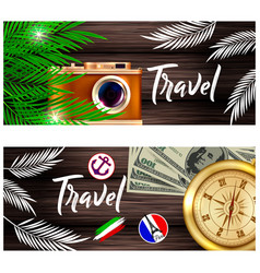 Travel a camera palm leaves and a vector