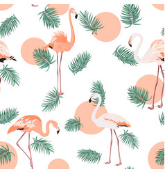 turquoise green tropical pink flamingo sun pattern vector image vector image