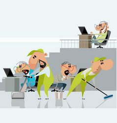 two cleaners in office vector image
