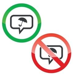 Umbrella message permission signs vector