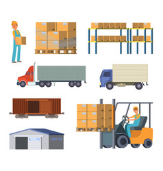 Warehouse and logistics processes worker with vector