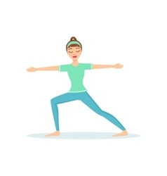 Warrior Two Virabhadrasana Yoga Pose Demonstrated vector