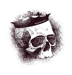 white skull on black background in grunge vector image vector image