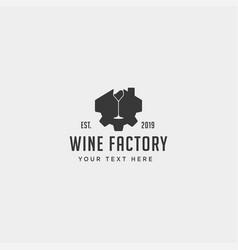 Wine gear logo design alcohol factory icon element vector