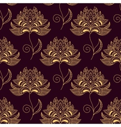 Yellow on purple paisley seamless floral pattern vector image
