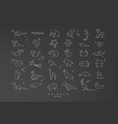 animals flat origami set vector image vector image
