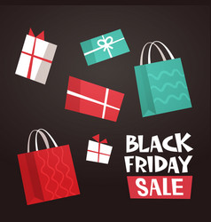 different gift boxes and shopping bags with black vector image