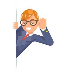 eyeglasses eavesdropping ear hand listen overhear vector image vector image