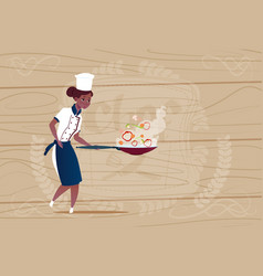 female african american chef cook holding frying vector image vector image