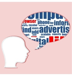 Head shape with marketing concept words isolated vector image