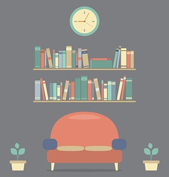 Modern Design Interior Sofa And Bookshelves vector image vector image