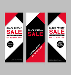 set of black friday sale banners flyer template vector image