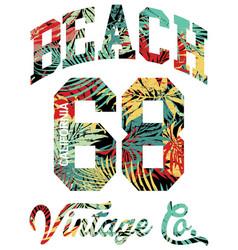 summer beach california artwork tropical leaves vector image vector image
