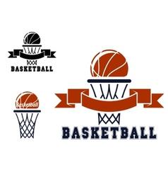 Basketball emblems and symbols vector image vector image