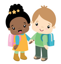 cute school girl and boy holding hands vector image vector image
