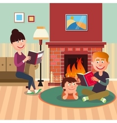 Father Reading Book to his Son near Fireplace vector image vector image
