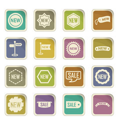 new stiker and label set icons vector image