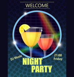 night party invitation card vector image