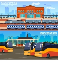 Rail network or link and bus station vector image vector image
