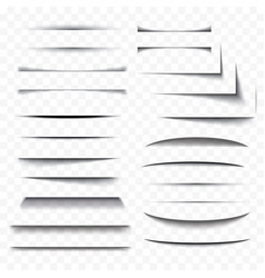 realistic paper shadow effect set transparent vector image vector image