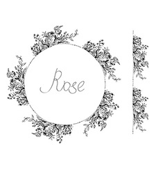 Rose flowers frame and design elements for card or vector image