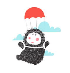 funny monster parashute flying in sky vector image vector image