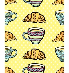 Seamless pattern with cup and croissant on vector image vector image