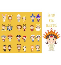 Set of different colorful cartoon kids characters vector image