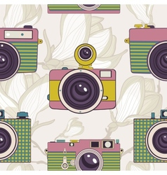 Vintage cameras seamless pattern vector image
