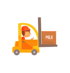 Yellow forklift truck with box of milk dairy vector