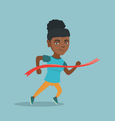young african sportswoman crossing finish line vector image vector image