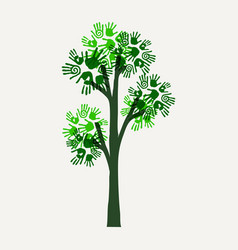 green hand print tree for nature help vector image vector image