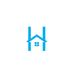 letter h logo with home icon vector image vector image