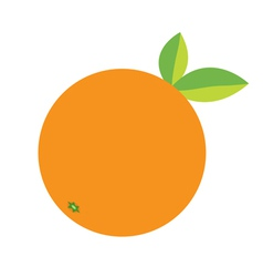 Orange fruit icon with leaf Healthy lifestyle vector image vector image