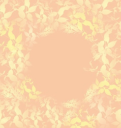 yellow leaves on pink background Round banner for vector image