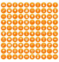 100 tree icons set orange vector