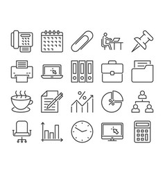 20 office icons office work line icon set vector