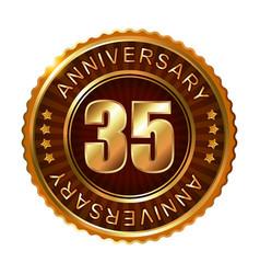 35 years anniversary golden brown label vector