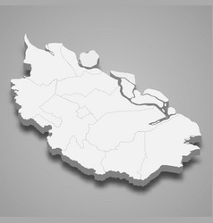 3d isometric map riau is a province vector